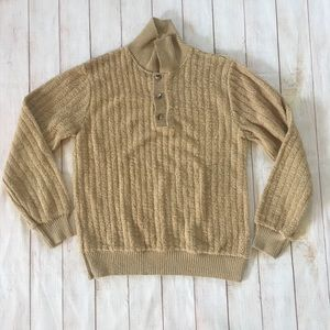 70s 80s Vintage Tan Textured Ribbed Button Sweater